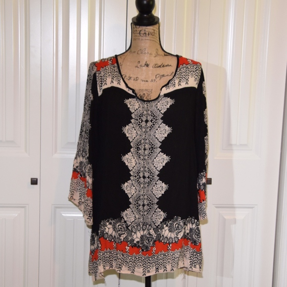 Angie Tops - Angie Creme Black Red Tunic Top Size S